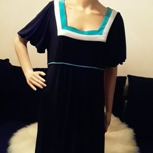 Black, turquoise and white dress